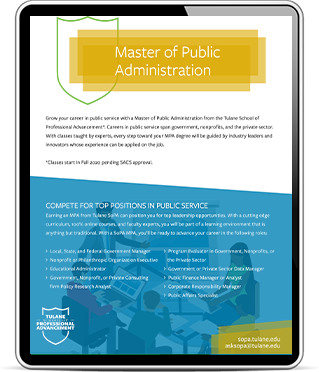 Screenshot of New Orleans, LA's Tulane School of Professional Advancement Master of Public Administration web page shown on an iPad