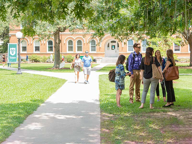 Students on Tulane's campus