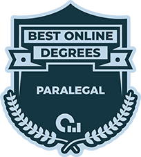 Best Online Degrees badge recognizing the 2019 Online Paralegal program of Tulane School of Professional Advancement in New Orleans, LA