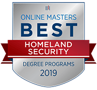 College Choice badge recognizing Tulane School of Professional Advancement's 2019 Online Masters in Homeland Security in New Orleans, LA