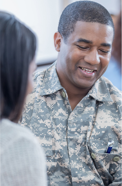 A man in military uniform representing the Yellow Ribbon Program of professional advancement program by Tulane School of Professional Advancement in New Orleans, LA