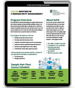 Masters in Cybersecurity Management iPad Graphic
