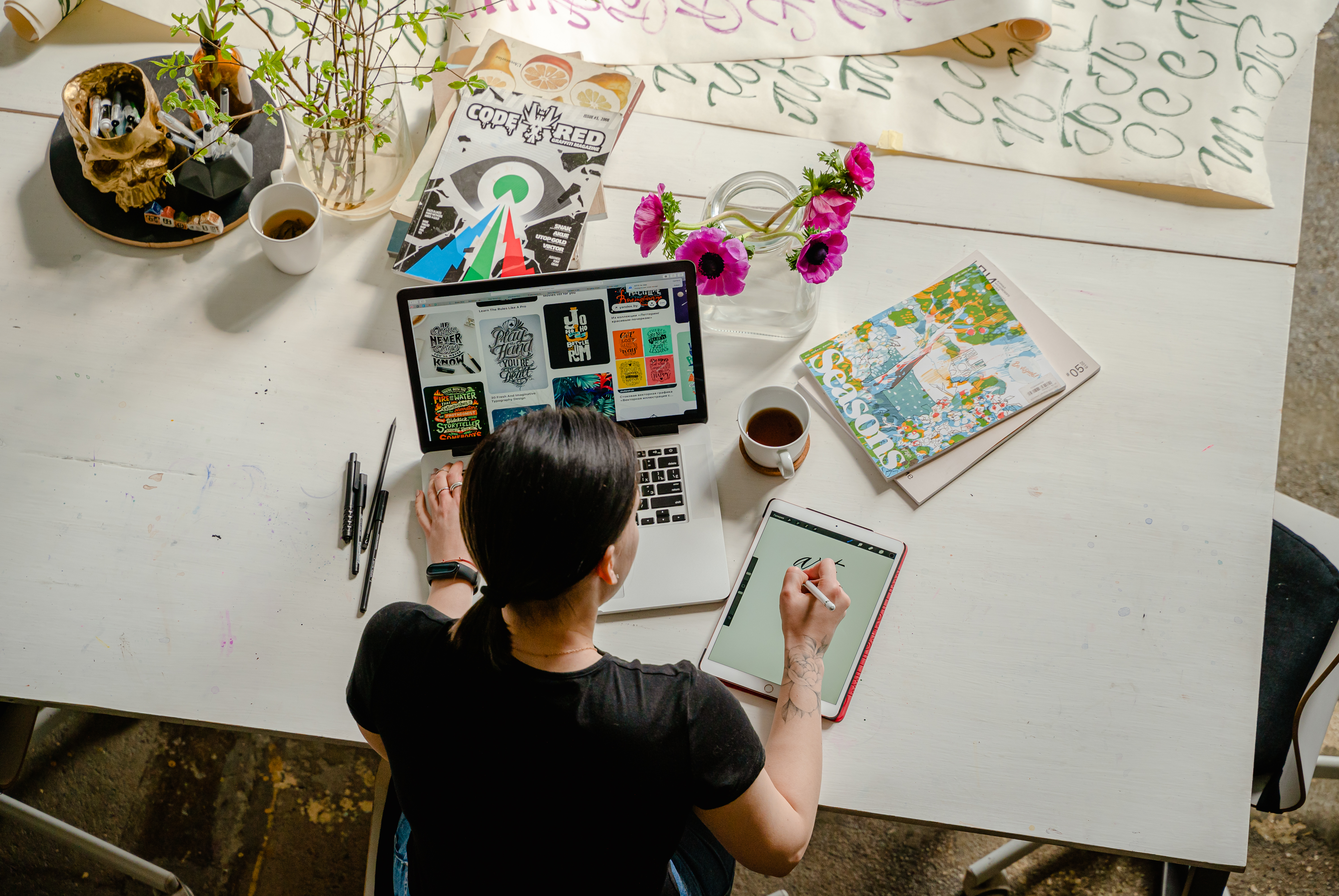 A person working as a digital designer