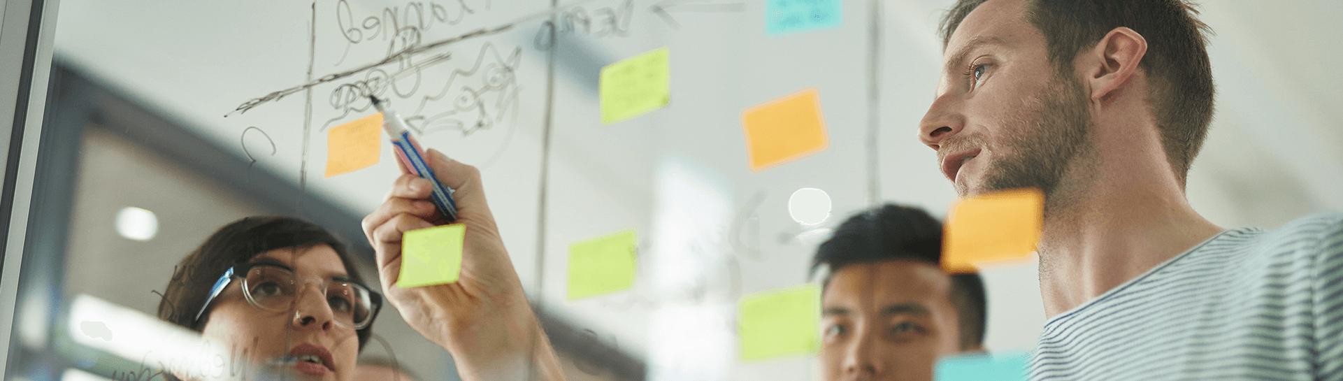 business professionals discuss strategies