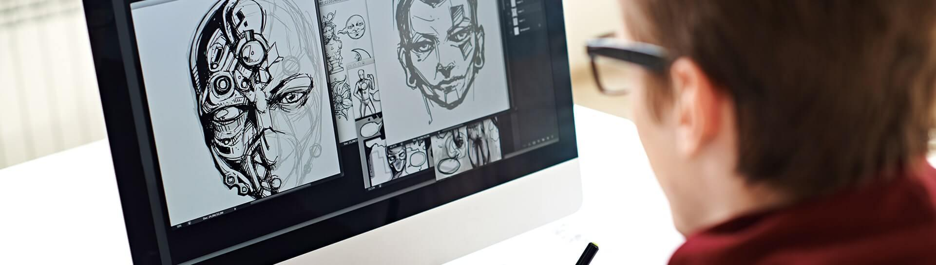 A man designing characters on a computer