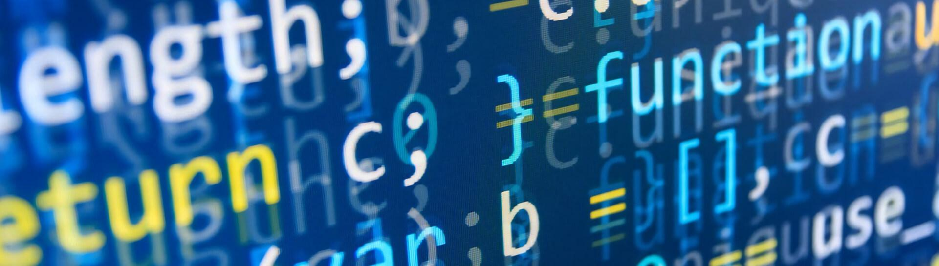 A close-up of code on a computer screen representing cryptography techniques taught by the Tulane School of Professional Advancement in New Orleans, LA