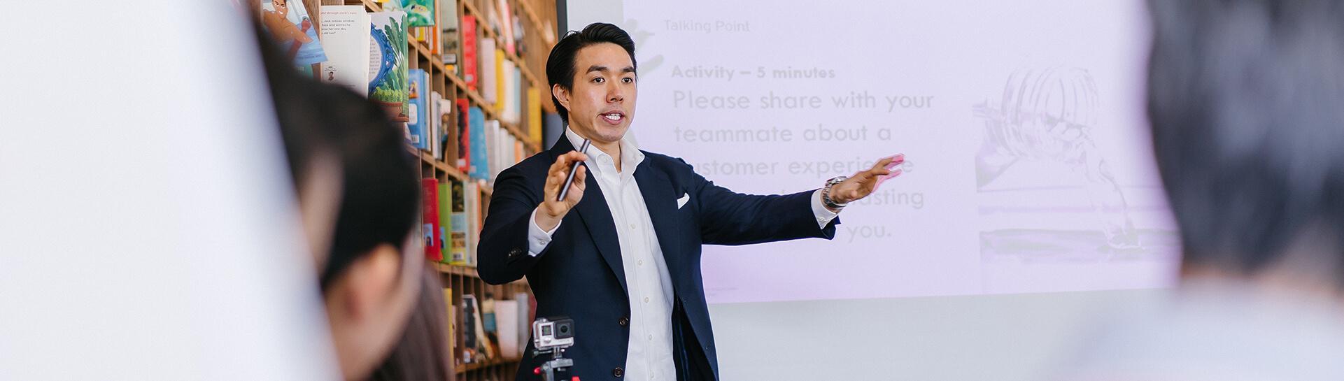 A person giving a speech