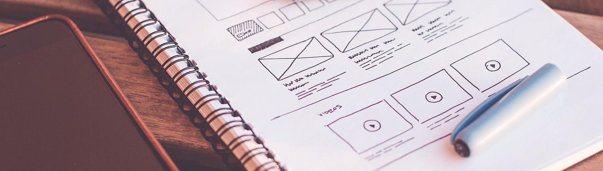 Wireframes sketched by a UX designer