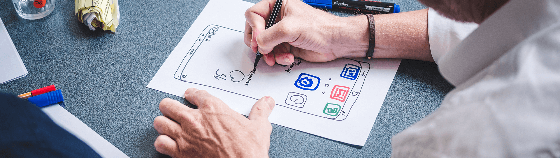 A person working on an app design