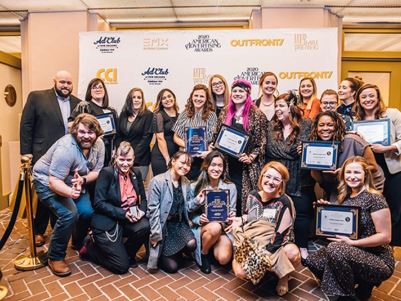Group photo of Tulane School of Professional Advancement students who received awards from the Advertising Club of New Orleans