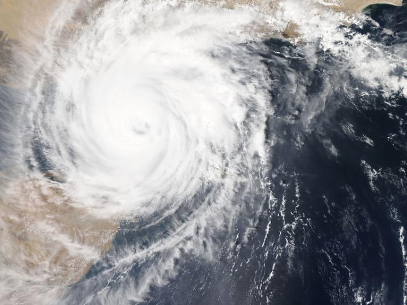 Map photo of hurricane approaching land - Tulane School of Professional Advancement