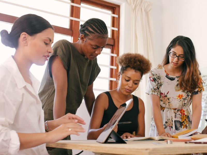 A group of marketing professionals working together