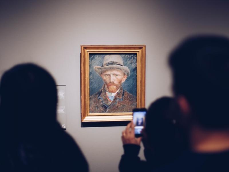 People in an art museum