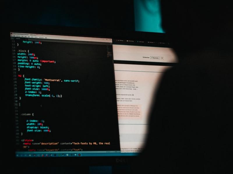 Code being displayed on a computer