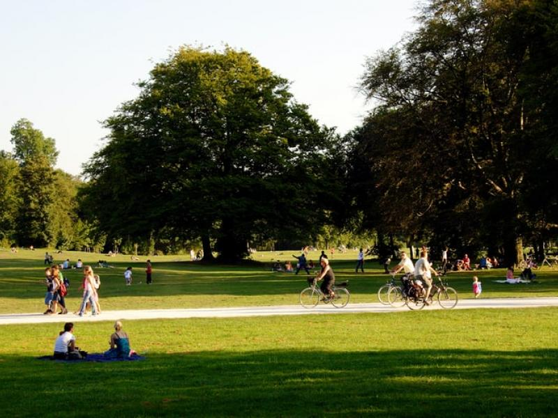 People using a local park