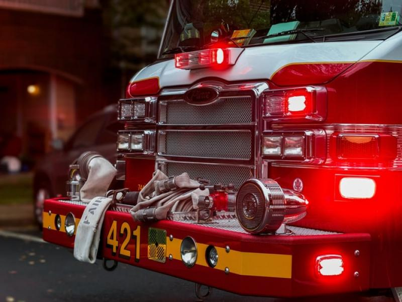 The front of a fire truck