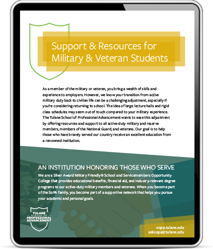 Tablet preview of e-brochure of resources for military students by continuing studies program Tulane School of Professional Advancement in New Orleans, LA